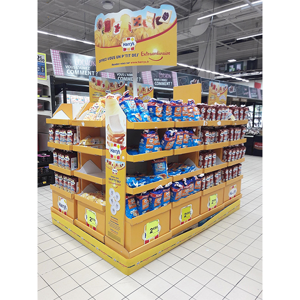 bread food cardboard display stand for promotion