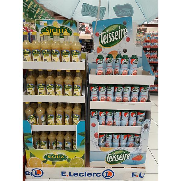 cardboard soft drink fruit juice display stand wholesale