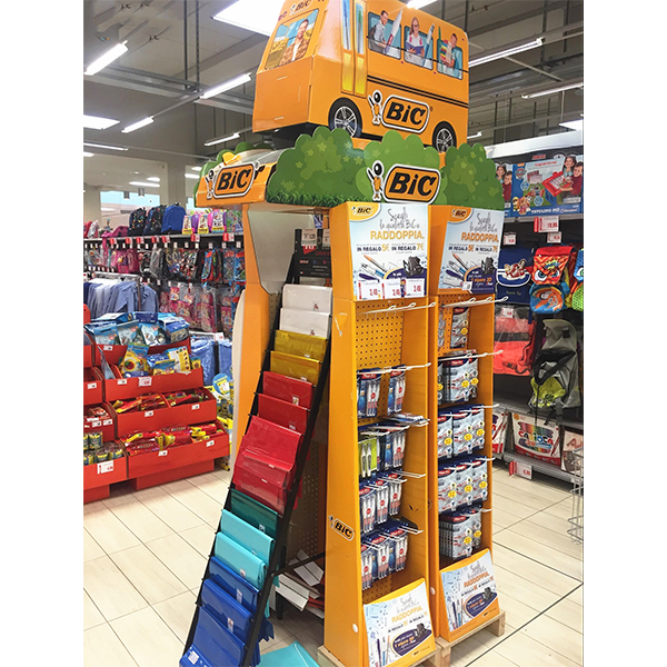 customized cardboard stationery pen hook display stand