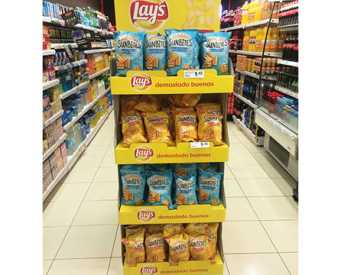 customized free standing snacks cardboard displays stand