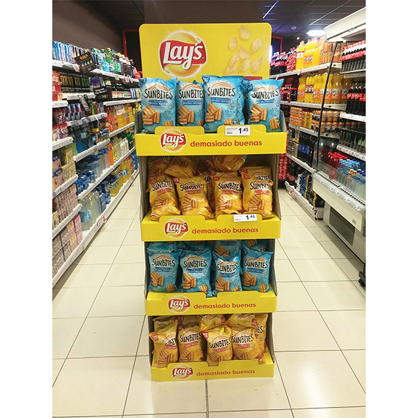 customized free standing snacks cardboard displays stand