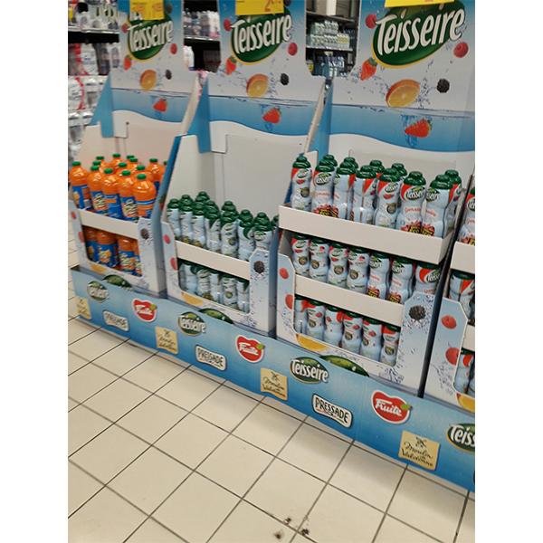 fruit drinks corrugated display stand for supermarket