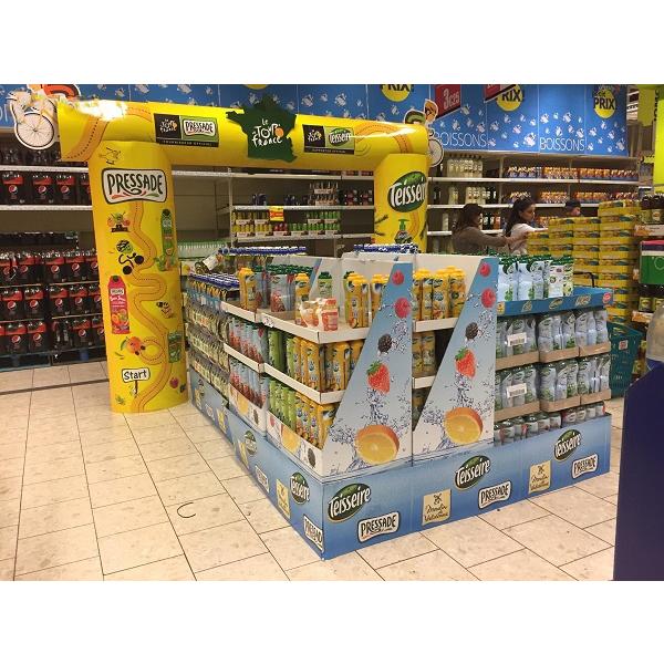 fruit juice cardboard display stand