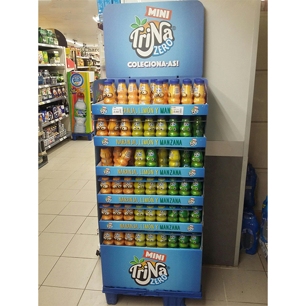 fruit juice custom cardboard display stand for supermarket