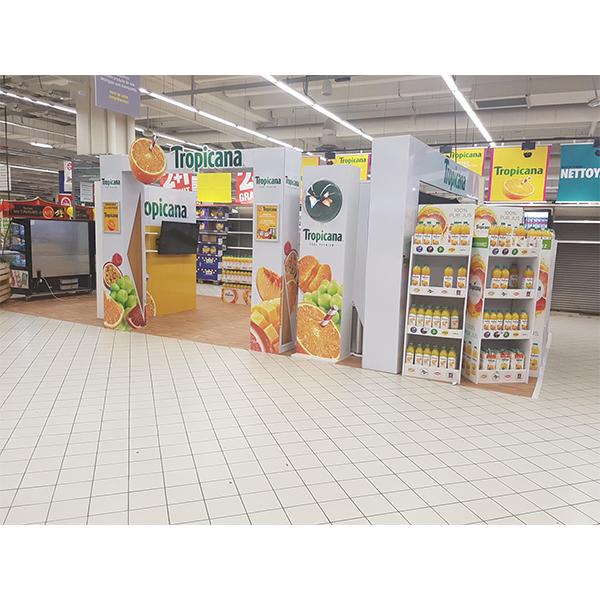 fruit juice paper display stand