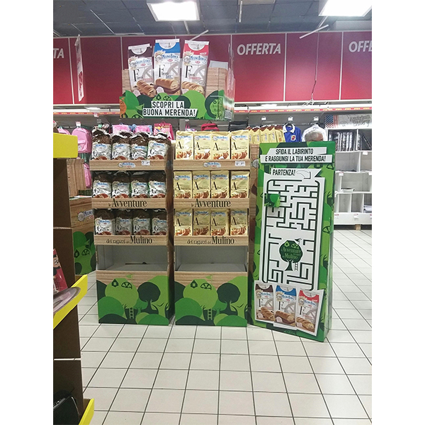popcorn cookies supermarket retail cardboard floor display