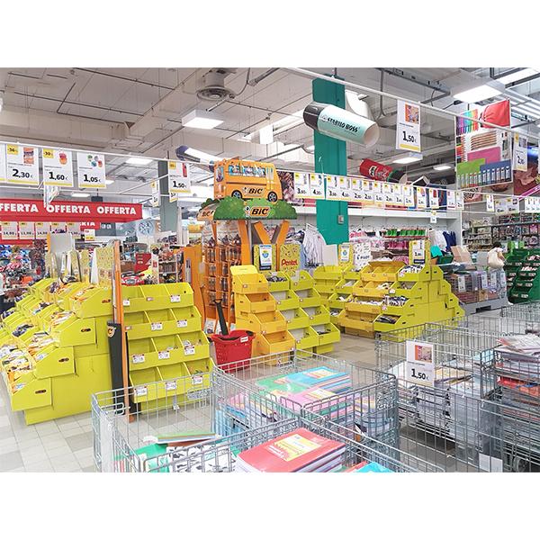 pos corrugated cardboard stationery display for supermarket