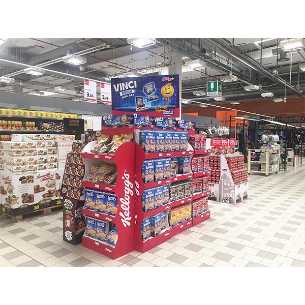 recycled cardboard promotional 4 tiers food snack floor display
