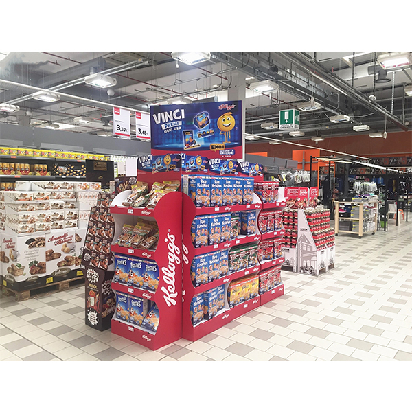 recycled cardboard promotional 4 tiers food snack floor display