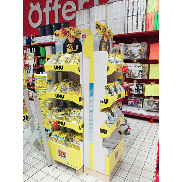 supermarket custom stationery cardboard floor display