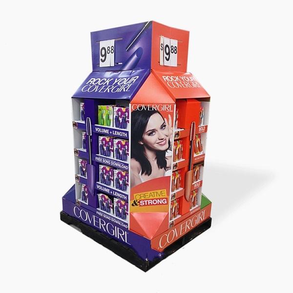 cardboard cosmetic pallet display
