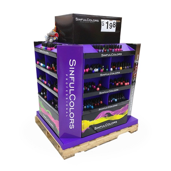 nail polish cardboard pallet display stand